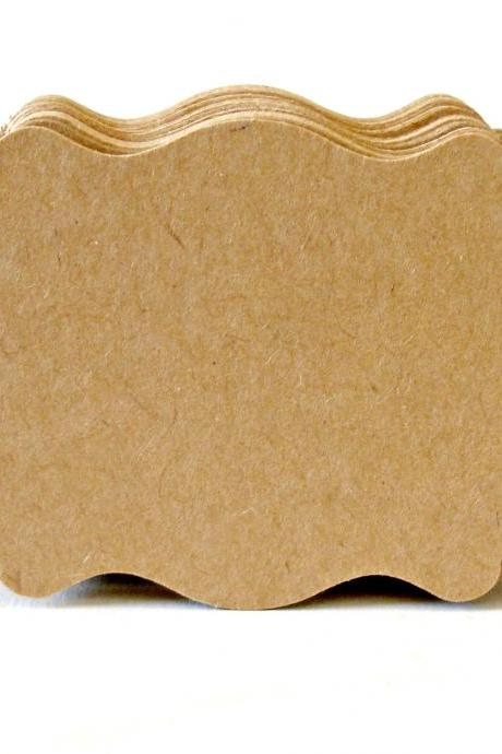 Kraft fancy label top note die-cuts Embellishment DIY projects Any occasion 2 Dozen