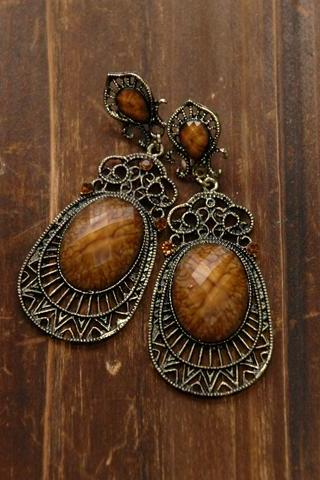 Vintage Earrings - Amber Stones
