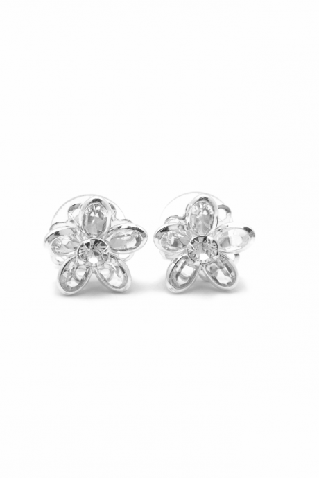Silver Flower Studs - Silver Flower Earrings - Flower Girl - Wedding Jewelry - Keepsake Box - Bellflower