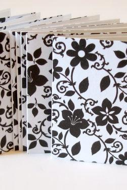 Black and white floral mini note cards handmade mini cards lunchbox notes blank mini cards Set of 8