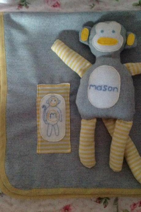 Baby Personalised Monkey teddy. Handmade gift for boys, new babies, baby shower, christenings, Christmas