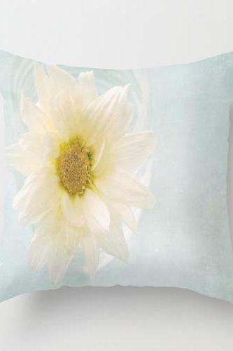 Textured White Flower Throw Pillow
