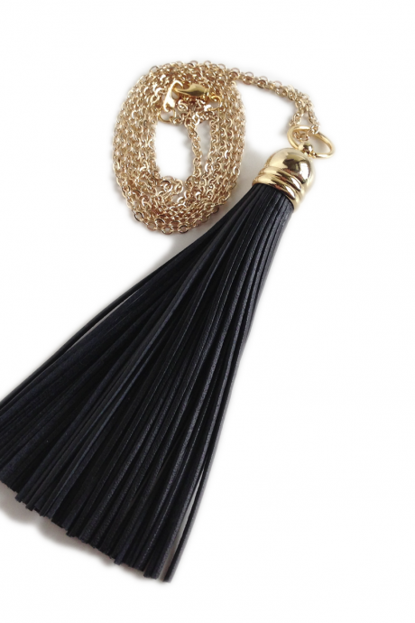 Tassel Necklace - Leather Tassel - Black and Gold - Tickle me Chic