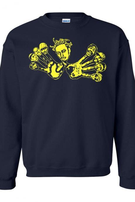 Wu-Tang Wu Hands Crew Neck Pullover Sweat Shirt