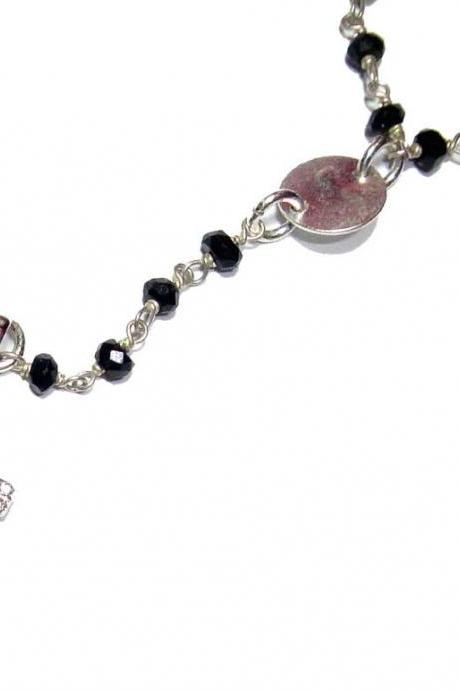 Rosary Style Onyx wire wrapped necklace with a pave sterling silver cz cross