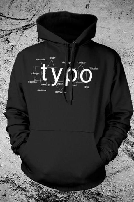 Typography Hooded Sweat Shirt Helvetica Font Sans Serif Hoodie