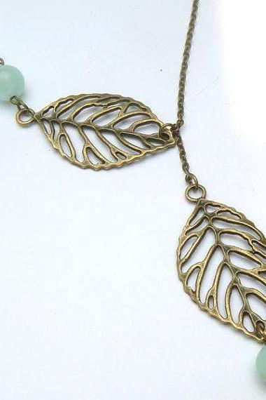 Antiqued Brass Leaf Blue Jade Necklace