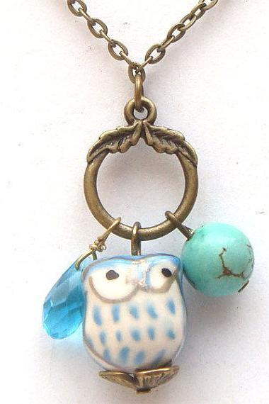 Antiqued Brass Quartz Turquoise Porcelain Owl Necklace