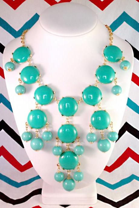 J-CREW Inspired Bubble Bib Statement Necklace in Teal Turquoise - Ships from USA!