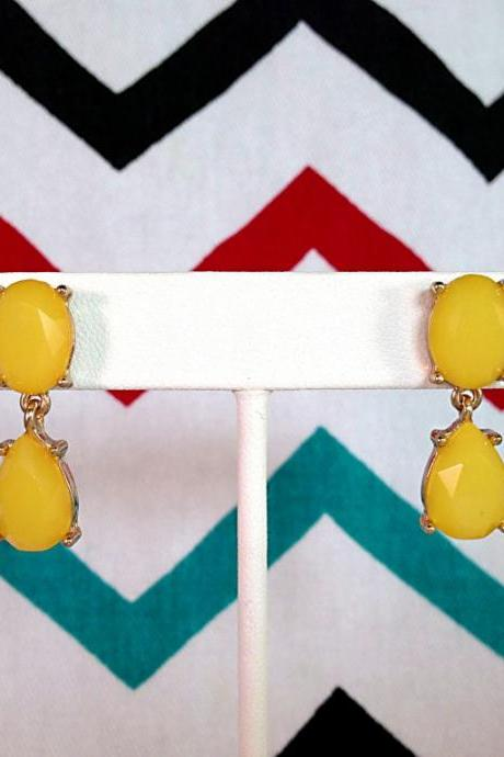 Kate Spade Inspired Yellow Teardrop Dangle Earrings