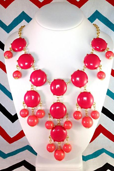 J-CREW Inspired Bubble Bib Statement Necklace in Hot Pink - Ships from USA!