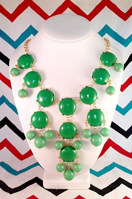 J-CREW Inspired Bubble Bib Statement Necklace in Kelly Green- Ships from USA!