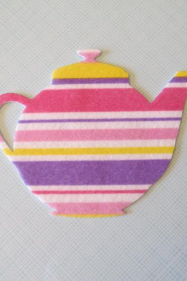 Teapot applique - print felt - 5.5 inches