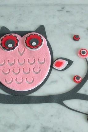 Felt Owl on branch with flowers
