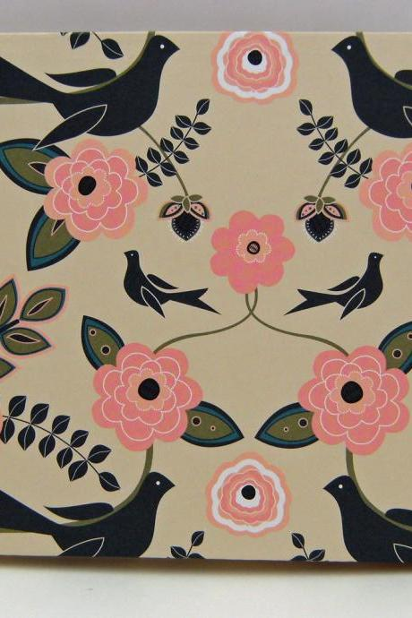 "Wedding Guest Book or Wedding Album : Birds and Flowers - 9"" x 6.5"" - Made to Order"