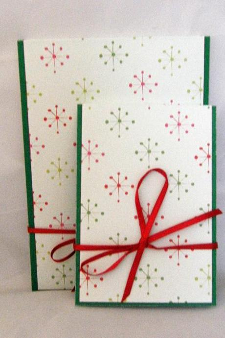 Stars Notebook Set - Red and Green Stars with Red Ribbon Tie