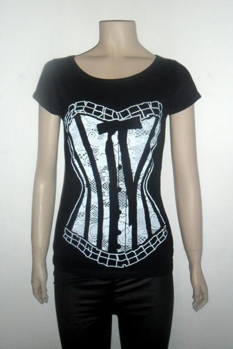 Black and withe lace corset tshirt for women scoop neck tee
