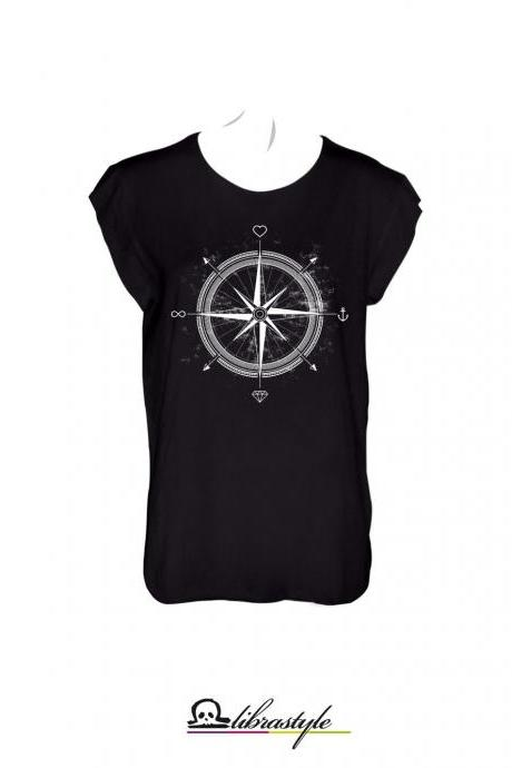 Compass love diamond infinite anchor trip black cut out style tshirt