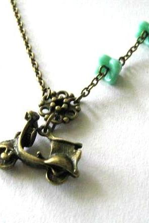 Antiqued bronze scooter necklace with aqua green flowers - Vespa necklace jewelry