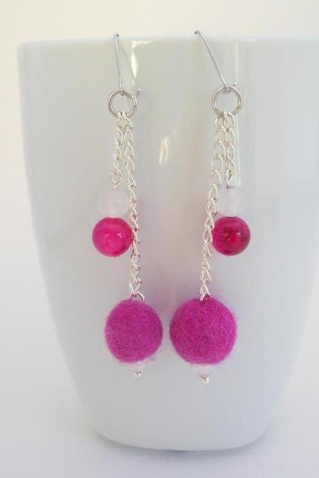 Pink Drop Felted Earrings, Fucshia Dangle Earrings, Metal Chain Earrings, Agate and Jade Beads