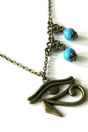 Egyptian style necklace eye of horus antiqued bronze with howlite turquoise beads