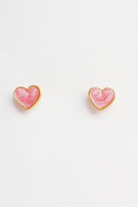 SALE - Lil Lovely Pink Red Heart Stud Earrings - 6 mm - Gift under 10