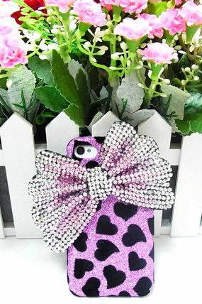 Bling Velvet black heart iphone 4 Case, Silver Bow iphone 4G Case, Crystal iphone 4S Case, Purple iphone 4 Case, Pink Bow iphone 4 Case PS