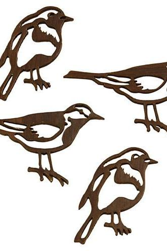 10x Wood Silhouette Bird Craft Charms