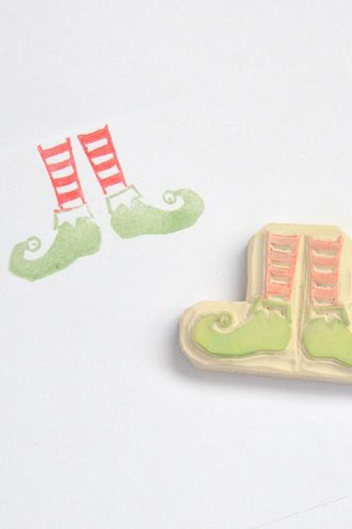 Hand Carved Rubber Stamp / Elf Shoes
