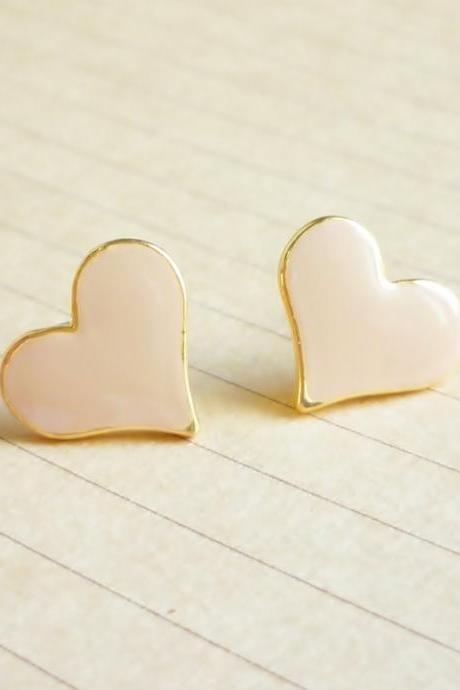 SALE - Large Sexy Tan Nude Heart Stud Earrings - Gift under 10