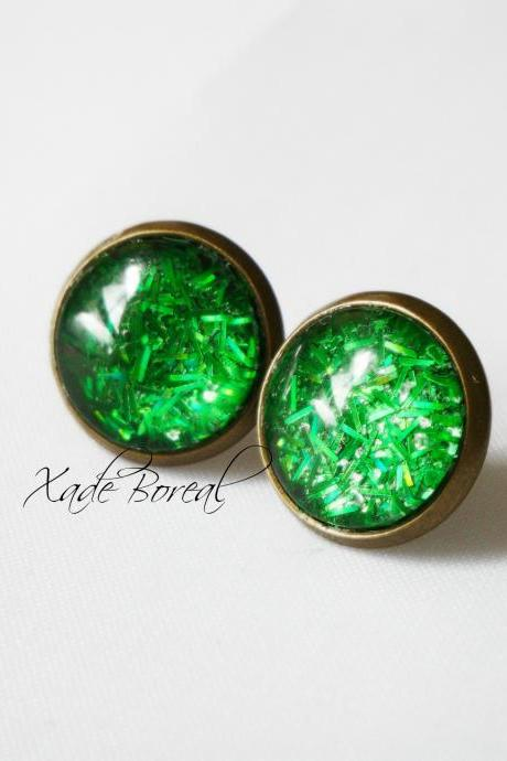 Green envy antique brass post earrings