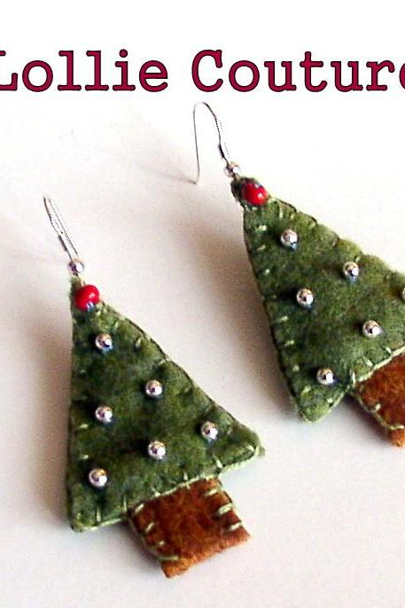 Christmas Tree Felt Earrings Holiday Winter Jewelry Green Silver Ornaments Beads Embroidery