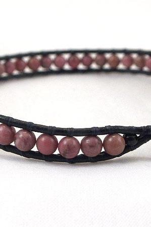 Black leather wrap bracelet with rodonite beads
