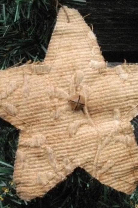 Primitive Star Ornament - Vintage Fabric and Rusty Bell