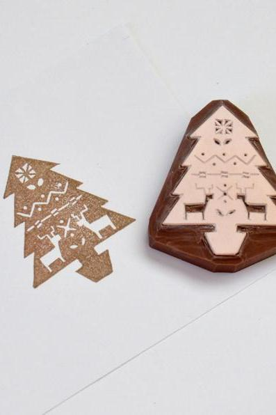 Hand Carved Rubber Stamp / Christmas Tree