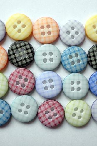 100x 12mm Gingham Check Buttons