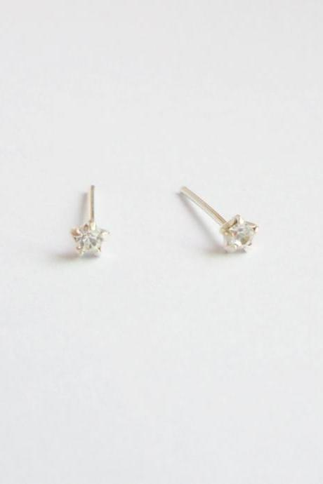 SALE - 3 mm - Tiny Round Clear CZ Ear Stud Earrings - 925 Sterling Silver Earrings - Gift under 10