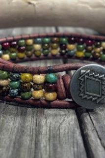 Mosaic Leather Wrap Bracelet, Friendship bracelet, Southwestern Chic