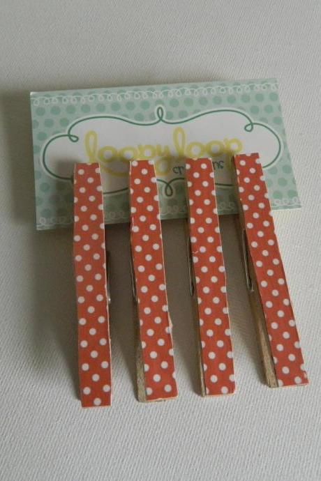 Set of 4 Orange Polka Dot Print Clothespin Magnets