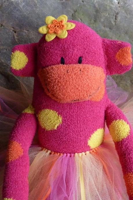 sock monkey doll, handmade sock monkey, pink sock monkey, baby safe sock monkey, fuzzy sock monkey
