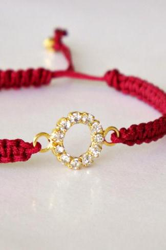 Rhinestone Circle - Macrame Friendship Bracelet - Wine Red and Gold