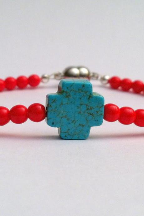 CHRISTMAS SALE Sideways Turquoise Blue Stone Cross Bracelet with Red Czech Glass Beads, Magnetic Closure