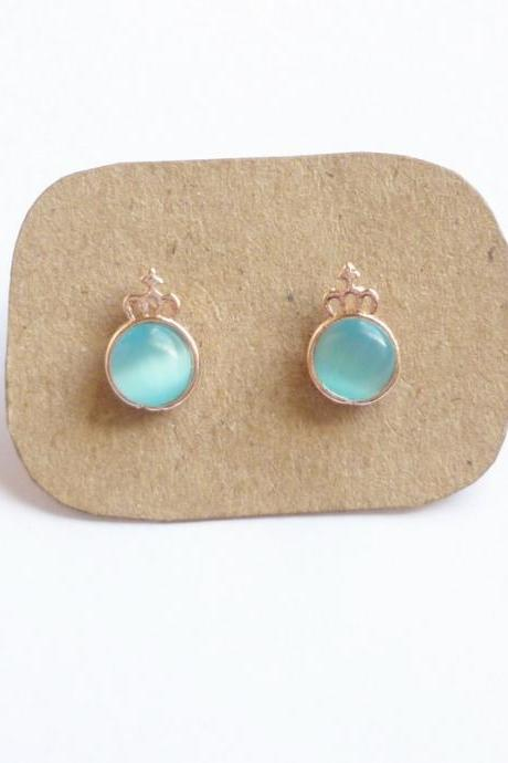 SALE - Little Blue Crown Rose Gold Stud Earrings - Gift under 10