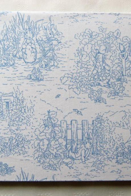 Baby Photo Album - Large Blue Silk & Beatrix Potter Fabric Album - Ready To Ship