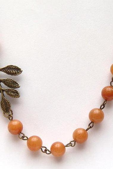 Antiqued Brass Leaf Honey Jade Necklace