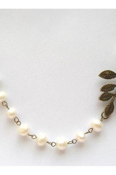 Antiqued Brass Leaf White Pearl Necklace