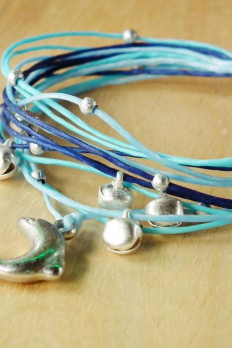 Dolphin in Blue Tone String Bangle - waxed cord bracelet