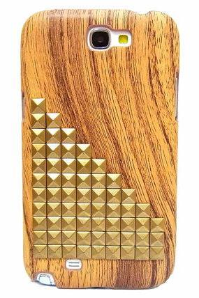Wood Pattern Plastic Samsung Galaxy Note II case,Samsung N7100 Galaxy Note 2 case,Bronze Stud Samsung N7100 Galaxy Note 2 case BL9P LB