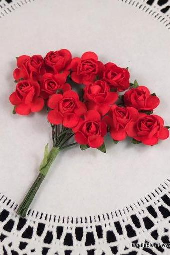 24 - Handmade Mulberry Paper Roses - Love (Red)