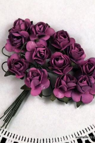 24 - Handmade Mulberry Paper Roses - Grape Fizz (Purple)